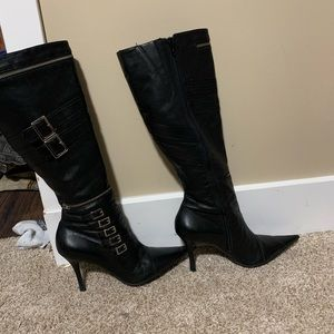 "3.5"" healed mid calf leather boots"